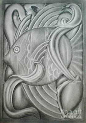 Drawing - Black And White Fish by Paula Ludovino