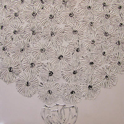 Black And White Floral Original by Kelly Hutchinson