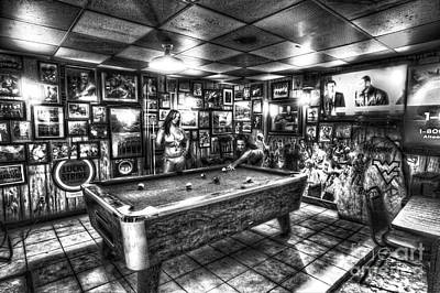 Photograph - Black And White Girls Playing Pool In Bar by Dan Friend
