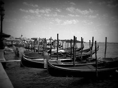Art Print featuring the photograph Black And White Gondolas by Laurel Best