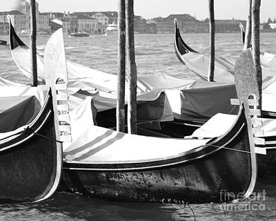 Black And White Gondolas Venice Italy Art Print by Rebecca Margraf