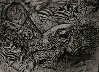 Liger Drawing - Black And White Horses by Taylor Higgins