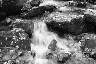 Art Print featuring the photograph Black And White Mini Waterfall by Michael Waters