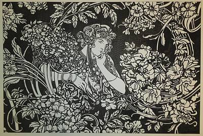 Mucha Drawing - black and white Mucha by Kevin Wood