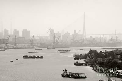 Black Commerce Photograph - Black And White Of Cranes And River Traffic by Jeremy Woodhouse