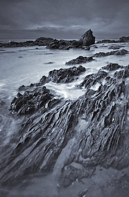 Black And White Of Rock Formations Art Print by Robert Postma
