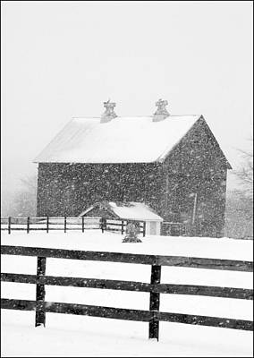 Black And White Photograph Of A Barn Near Cannonsburg During A Snowstorm Art Print by Randall Nyhof