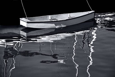 Photograph - Black And White Photograph Of A Tethered Boat In Victoria Harbor by Randall Nyhof