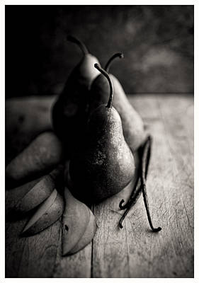 Black And White Simple Naturmort Photo With Bosc Pears And Vanilla Beans Art Print by Anna Hoychuk