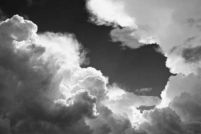 Photograph - Black And White Sky With Building Storm Clouds Fine Art Prints by Keith Webber Jr