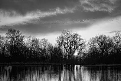 Black And White Sunrise Over Water Art Print