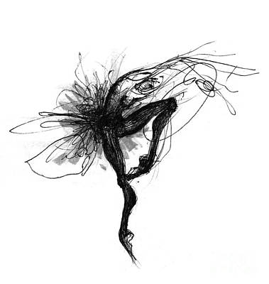 Ballet Drawing - Black And White Swan Or Picture In Motion by Lousine Hogtanian