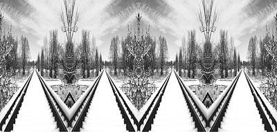 Digital Art - Black And White Triple Tracks by James Steele