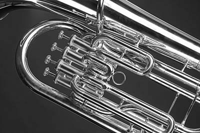 Photograph - Black And White Tuba by M K  Miller