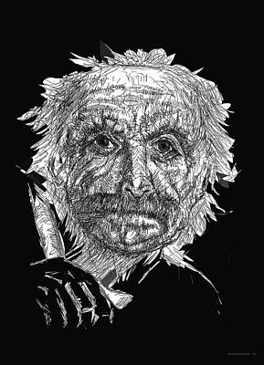 Paper Drawing - Black And White With Pen And Ink Drawing Of A Old Man  by Mario Perez