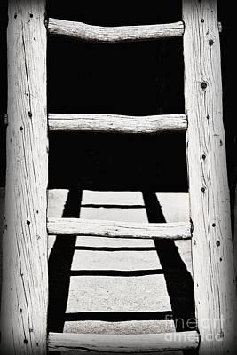 Black And White Wooden Ladder Art Print by Bryan Mullennix