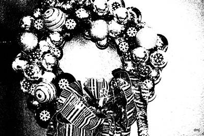 Photograph - Black And White Wreath by Diane montana Jansson