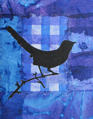 Mixed Media Collage Mixed Media - Black Bird Black Bird by Karen Pappert