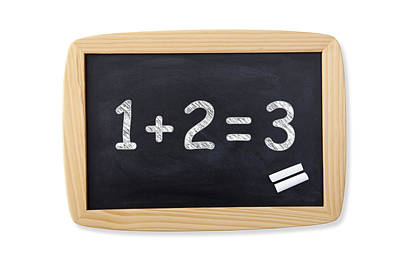 Numbers Plus Photograph - Black Blackboard On White Background by Emrah Turudu