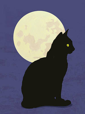 Domestic Cats Digital Art - Black Cat And Moon Graphic Illustration by Don Bishop