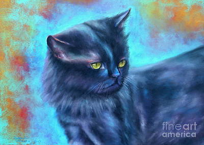 Black Cat Color Fantasy Art Print by Gabriela Valencia