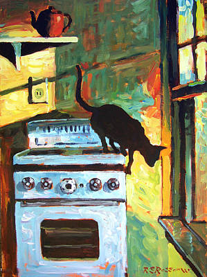 Black Cat In The Kitchen Art Print by Roelof Rossouw