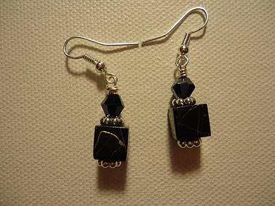 Black Cube Drop Earrings Art Print by Jenna Green
