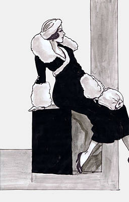 Black Dress With Fur Print by Mel Thompson