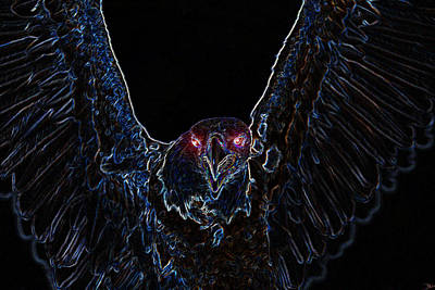 American Eagle Painting - Black Eagle Vision by David Lee Thompson