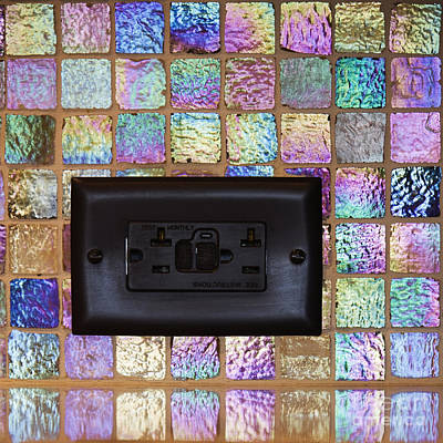 Black Electric Outlet In Tiled Wall Art Print by Jeremy Woodhouse