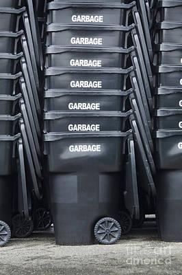 Black Garbage Bins Art Print by Don Mason