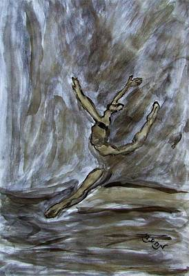 Ballroom Drawing - Black Gold Young Female Ballet Dancer In Strong Powerful Striking Jump Off The Ballroom Floor Arms by M Zimmerman MendyZ
