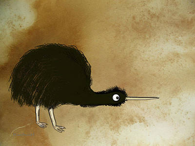 Black Kiwi Art Print by Asok Mukhopadhyay