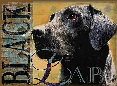Labs Digital Art - Black Lab by Wendy Presseisen