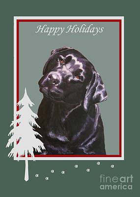 Painting - Black Labrador Portrait Christmas by Amy Reges