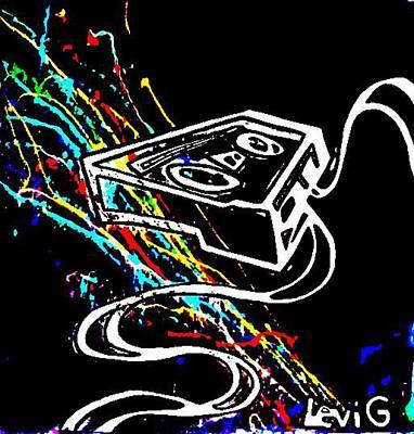 Analog Painting - Black Light Response Neon Splash Cassette Tape Unwound by Levi Glassrock