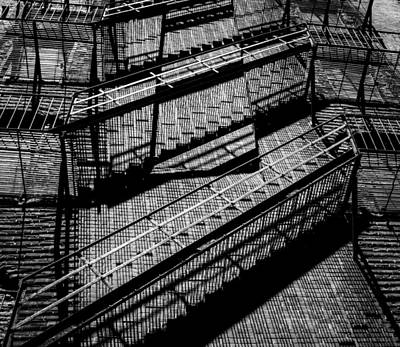 Photograph - Fire Escape With Shadow Detail by Vintage Pix