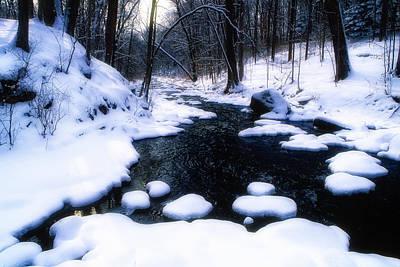 Black River Winter Scenic Art Print by George Oze