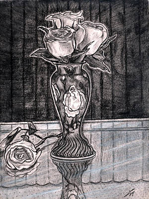 Glass Table Reflection Drawing - Black Roses by Lee McCormick