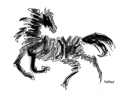 Abstract Movement Drawing - Black Stallion 2 by Mimo Krouzian