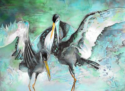 Stork Painting - Black Storks by Miki De Goodaboom