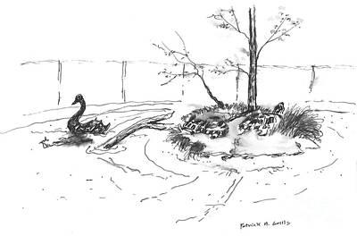Slider Painting - Black Swan And Sliders by Patrick Grills
