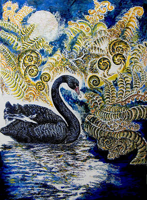 Wetlands Drawing - Black Swan And Tree Ferns No1 by Helen Duley