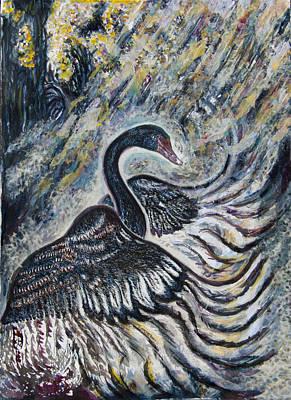 Wetlands Drawing - Black Swan In Early Morning Mists by Helen Duley