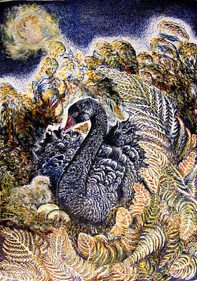 Wetlands Drawing - Black Swan  Mother And Cygnet No 2  by Helen Duley