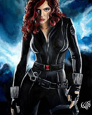 Black Widow Art Print by Tom Carlton