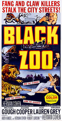 Horror Movies Photograph - Black Zoo, Mid-right Michael Gough by Everett