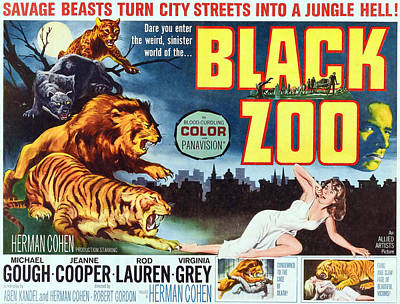 1963 Movies Photograph - Black Zoo, Middle Right Michael Gough by Everett