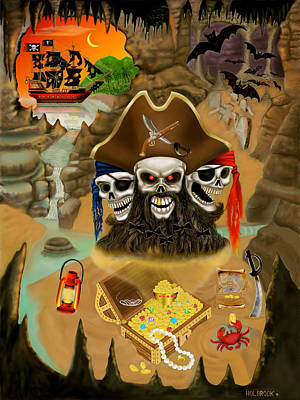 Blackbeard's Haunted Treasure Art Print by Glenn Holbrook