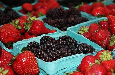 Blackberries And Strawberries Print by Cathie Tyler